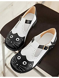 Women's Flats Comfort PU Spring Casual Comfort Black/White Flat