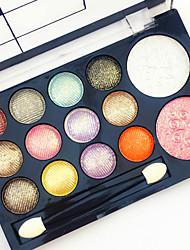 12 Glitter Shimmer Color Eyeshadow+2  Color Blush Coloretes+Sombras de Ojos Espejo Pinceles de Maquillaje Seco Mate Brillo Hombre Cara