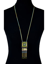 Lureme Ethnic Jewelry Colorful Square Weave Beads with Leaf Tassel Pendant Necklace