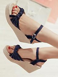 Women's Sandals Comfort Denim Summer Casual Blue Green Dark Blue 3in-3 3/4in