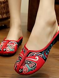 Для женщин Обувь Ткань Лето Удобная обувь Тапочки и Шлепанцы Назначение Повседневные Черный Красный