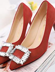 Feminino Saltos Plataforma Básica Pele Real Primavera Casual Preto Vermelho Rosa claro Vermelho Escuro 10 a 12 cm