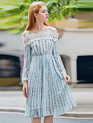YHSP Women's Going out Casual/Daily Sexy Simple Sophisticated A Line Sheath Chiffon Dress,Floral Print Patchwork Boat Neck Midi Long Sleeves