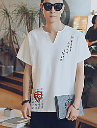 T-shirt Da uomo Casual Semplice Alfabetico A V Cotone Mezza manica