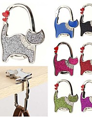 1PCS Unisex Table Ladies Cat Design Rhinestone Handbag Purse Foldable Purse Bag Rhinestone Hanger Hangbag Hook Holder Safer Gift  Ramdon Color