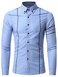 Men's Casual/Daily Chinoiserie Shirt,Check Classic Collar Long Sleeve Cotton
