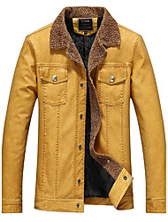 Men's Casual/Daily Vintage Fall Winter Leather Jacket,Solid Shawl Lapel Long Sleeve Regular Polyester