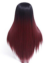 Ombre Wine Red Straight Female Wig Capless Synthetic Wigs Long Straight Hair Heat Resistant Synthetic Wigs