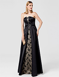 A-Line Strapless Floor Length Lace Satin Formal Evening Dress with Sash / Ribbon by TS Couture®