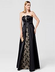 Linha A Sem Alças Longo Renda Cetim Evento Formal Vestido com Faixa / Fita de TS Couture®