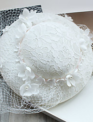 Tulle Imitation Pearl Lace Feather Fabric Silk Net Headpiece-Wedding Special Occasion Birthday Party/ Evening Fascinators Hats 1 Piece