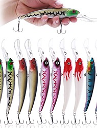 "10 pcs Fishing Lures Hard Bait Minnow g/Ounce,165 mm/6-1/2"" inch,Plastic Sea Fishing Bait Casting Spinning Jigging Fishing Freshwater"