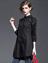 Camicia Da donna Casual Per uscire Moda città Estate Autunno,Ricamato Colletto Cotone Mezza manica Sottile
