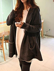 Women's Casual/Daily Simple Long Cardigan,Solid Hooded Long Sleeves Cotton Fall Medium Micro-elastic