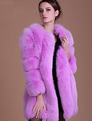 Для женщин Большие размеры Осень Зима Пальто с мехом Круглый вырез,Простой Однотонный Длинная Длинный рукав,Лисий Мех
