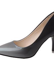 Damen High Heels Walking Komfort PU Sommer Normal Stöckelabsatz Grau Rot 7,5 - 9,5 cm