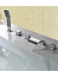 Moderne Diffusion large Jet pluie with  Soupape en laiton Trois poignées cinq trous for  Chrome , Robinet de baignoire