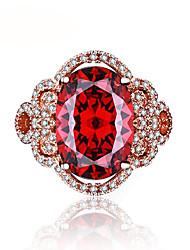 Femme Anneaux Rubis Vintage Bijoux de Luxe Elegant Zircon Or Rose Forme de Fleur Bijoux Pour Mariage Fiançailles Cérémonie