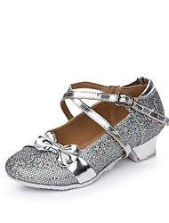 Women's Kids' Dance Shoes Sparkling Glitter Paillette Synthetic Flats Indoor Sequin Ruffles Buckle Ruched Low HeelBlushing Pink Silver