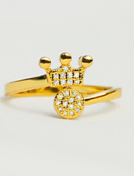 Women's 24K Gold Plated Cuff Adjustable Crown Ring Imitation Diamond Love Fashion Vintage Luxury Elegant Accessories Jewelry For Wedding Party
