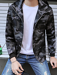 Men's Party Going out Casual/Daily Simple Vintage Active Fall Winter Jacket,Solid Hooded Long Sleeve Regular Polyester