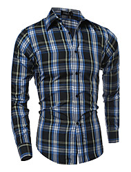 Brand Fashion  Men's Plus Size Casual/Daily Simple Active Summer ShirtStriped Plaid Standing Collar Long Sleeve Cotton Polyester Thin