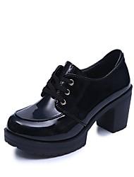Для женщин Туфли на шнуровке Удобная обувь Осень Полиуретан Для праздника Стразы Шнуровка На толстом каблуке Черный Серый 7 - 9,5 см