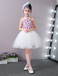 Princesse courte / mini robe de fille fleur - tulle en satin et laine en tulle sans manches avec applique