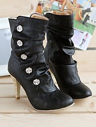 Damen Schuhe PU Winter Modische Stiefel Stiefel Stöckelabsatz Booties / Stiefeletten Mit Für Normal Weiß Schwarz Grau