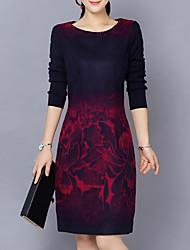 Gaine Robe Femme Décontracté / Quotidien Grandes Tailles simple,Imprimé Col Arrondi Mi-long Manches Longues Coton Acrylique AutomneTaille