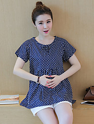 Pregnant Women Fashion Comfortable Cartoon Dot Short Sleeve Blouse Blouse Recreational Shorts Two-Piece