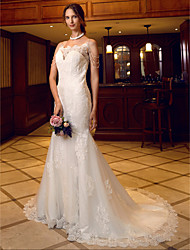 Mermaid / Trumpet Spaghetti Straps Court Train Lace Wedding Dress with Appliques Buttons Pearl Detailing by LAN TING BRIDE®