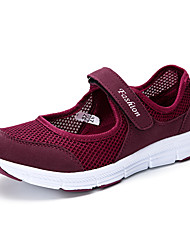 Women's Athletic Shoes Comfort Tulle Summer Fall Casual Outdoor Walking Comfort Magic Tape Platform Ruby Light Grey Dark Grey 2in-2 3/4in