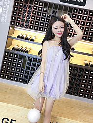 Women's Casual/Daily Cute Chiffon Dress,Solid Strap Above Knee Sleeveless Others Summer Mid Rise Inelastic Thin