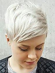 жен. Человеческие волосы без парики Серебряный Короткий Прямые Боковая часть