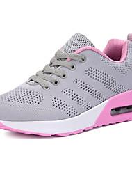 Femme Chaussures d'Athlétisme Confort Tricot Printemps Automne Décontracté Course à Pied Lacet Talon Plat Blanc Noir Gris Rose7,5 à 9,5