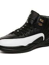 Для мужчин Спортивная обувь Удобная обувь Весна Осень Натуральная кожа Ткань Для прогулок Повседневные Шнуровка На плоской подошве Черный