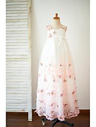A-Line Floor Length Flower Girl Dress - Tulle Sleeveless Spaghetti Straps with Flower