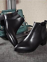 Women's Boots Comfort PU Fall Winter Casual Comfort Black 3in-3 3/4in