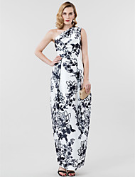 Funda / Columna Un Hombro Hasta el Suelo Satén Evento Formal Vestido con Plisado por TS Couture®