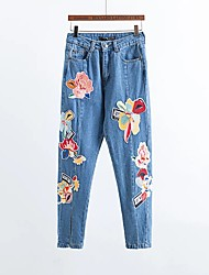 Women's Slim Jeans PantsGoing out Casual/Daily Simple Street chic Solid Mid Rise Zipper Polyester Micro-elastic Fall Winter