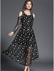 SHE'S Women's Holiday Going out Casual/Daily Vintage Street chic A Line Loose DressFloral Round Neck Midi Short Sleeves Polyester SummerMid