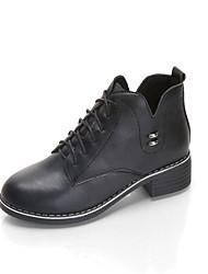 Для женщин Туфли на шнуровке Формальная обувь Осень Полиуретан Повседневные Для праздника Шнуровка На низком каблуке Черный Серый Винный