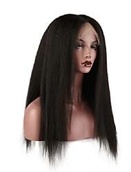 Mujer Pelucas de Cabello Natural Cabello humano Encaje Frontal Frontal sin Pegamento 130% Densidad Liso Natural Peluca Negro Negro Corto