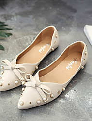 Women's Flats Comfort Ankle Strap Club Shoes PU Spring Summer Casual Office & Career Dress Walking Buckle Ruffles Hook & Loop Low Heel