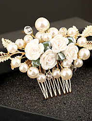 Imitation Pearl Plastic Alloy Headpiece-Wedding Special Occasion Birthday Party/ Evening Hair Combs Flowers 1 Piece