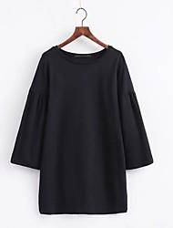 Tunique Robe Femme Sortie Décontracté / Quotidien simple Chic de Rue,Couleur Pleine Col Arrondi Mini Manches LonguesAcrylique Polyester