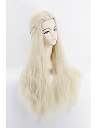 Women Synthetic Wig Capless Long Loose Curl Blonde Braided Wig Cosplay Wigs Costume Wig