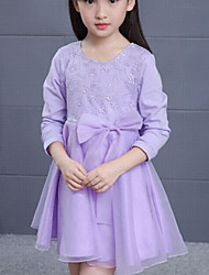 Girl's Solid Dress,Polyester Summer Fall Sleeveless