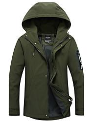 Men's Plus Size Casual Slim  Sleeves Pocket Zipper Letter Design Medium Long Hooded Jackets